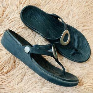 CROCS Shoes - Crocs   Black Thong Sandal - Women's  Size 8